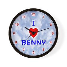 I Love Benny (Red/Bl) Valentine Wall Clock