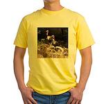 Two Turkeys on a Log Yellow T-Shirt