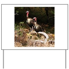 Two Turkeys on a Log Yard Sign