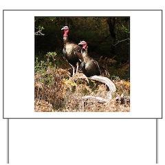 Two Turkeys on a Log Yard Sign