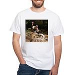 Two Turkeys on a Log White T-Shirt