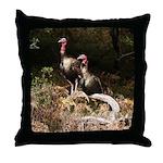 Two Turkeys on a Log Throw Pillow