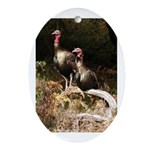 Two Turkeys on a Log Oval Ornament