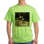 Two Turkeys on a Log Green T-Shirt