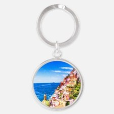 Digital Painting Of Positano Italy Keychains