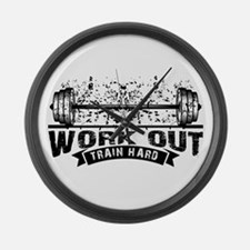 Work Out Train Hard Large Wall Clock
