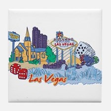 Las Vegas Travel Poster Tile Coaster
