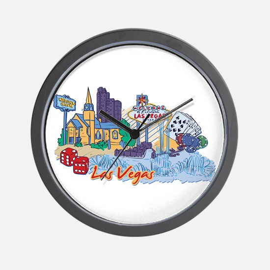 Las Vegas Travel Poster Wall Clock
