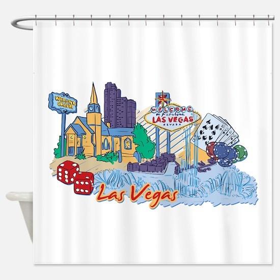 Las Vegas Travel Poster Shower Curtain