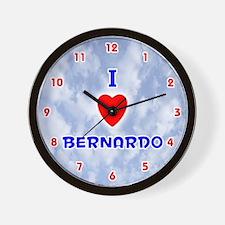 I Love Bernardo (Red/Bl) Valentine Wall Clock