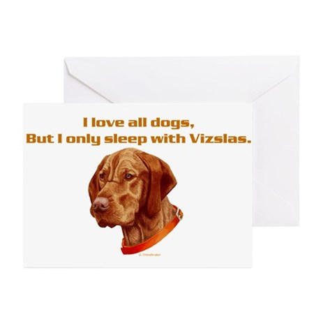 Sleep with Vizslas Greeting Cards (Pk of 10)