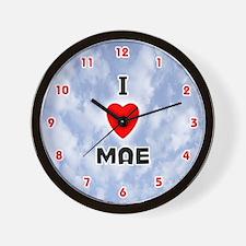 I Love Mae (Red/Blk) Valentine Wall Clock