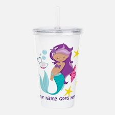 Purple Mermaid Acrylic Double-Wall Tumbler