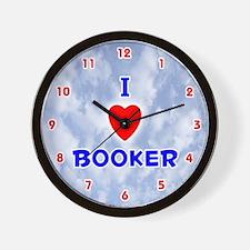 I Love Booker (Red/Bl) Valentine Wall Clock