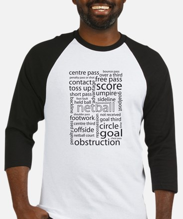 Netball word cloud Baseball Jersey