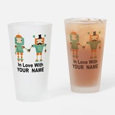 Funny His And Hers Personalized Robots Drinking Gl