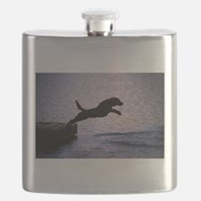 Chesapeake Bay Retriever Leaping In the Wate Flask