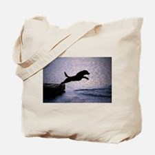 Chesapeake Bay Retriever Leaping In the W Tote Bag