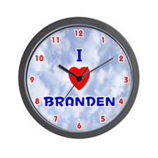 I Love Branden (Red/Bl) Valentine Wall Clock