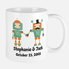 Personalized Couples Anniversary Robots Mugs