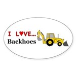 I Love Backhoes Sticker (Oval 10 pk)
