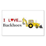 I Love Backhoes Sticker (Rectangle 50 pk)