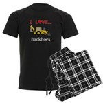 I Love Backhoes Men's Dark Pajamas
