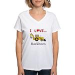 I Love Backhoes Women's V-Neck T-Shirt