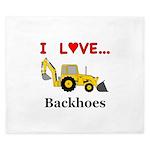 I Love Backhoes King Duvet