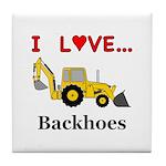 I Love Backhoes Tile Coaster