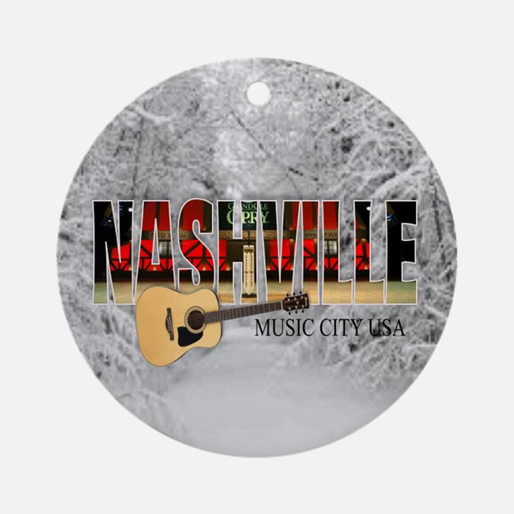Nashville Music City-CO1 Round Ornament