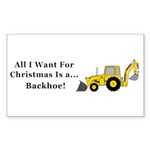 Christmas Backhoe Sticker (Rectangle 10 pk)