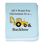 Christmas Backhoe baby blanket