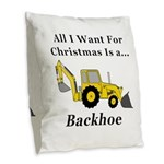 Christmas Backhoe Burlap Throw Pillow