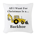 Christmas Backhoe Woven Throw Pillow