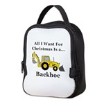 Christmas Backhoe Neoprene Lunch Bag