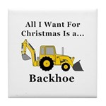 Christmas Backhoe Tile Coaster
