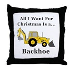 Christmas Backhoe Throw Pillow