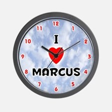 I Love Marcus (Red/Blk) Valentine Wall Clock