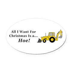 Christmas Hoe Oval Car Magnet