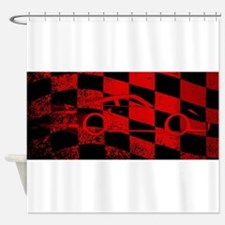 Fast Car Chequered Flag Shower Curtain