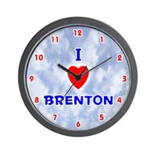 I Love Brenton (Red/Bl) Valentine Wall Clock