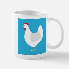 White Chicken Hen on Blue Mugs