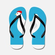 White Chicken Hen on Blue Flip Flops