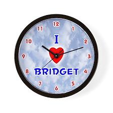 I Love Bridget (Red/Bl) Valentine Wall Clock