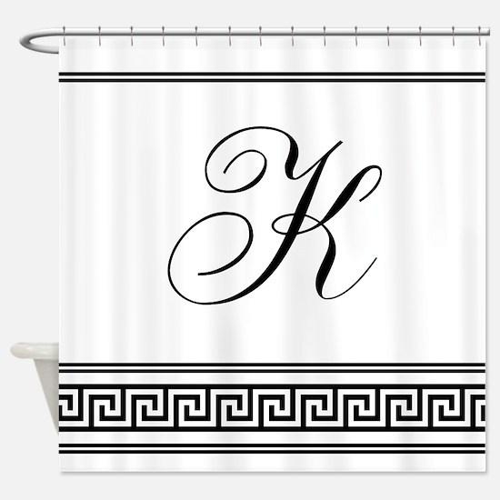 Monogram Letter K Art Deco Greek Shower Curtain