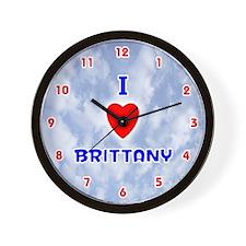 I Love Brittany (Red/Bl) Valentine Wall Clock