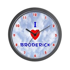 I Love Broderick (Red/Bl) Valentine Wall Clock