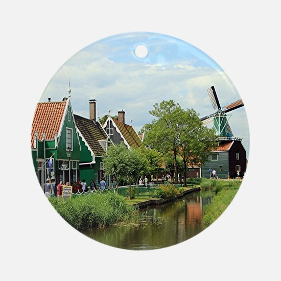 Dutch windmill village, Holland Round Ornament