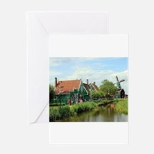 Dutch windmill village, Holland Greeting Cards